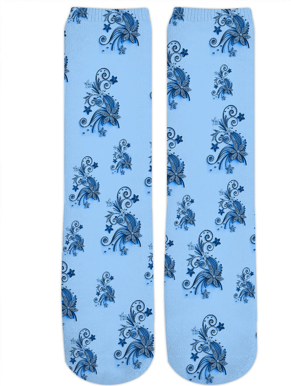 Light Blue flowers, asymetric floral ornament, cartoon pattern design, all-over-print crew socks