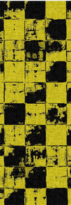 Grunge tiles themed yellow yoga mat, squares pattern worn out look mats