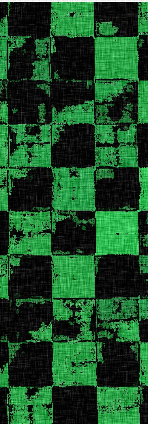 Grunge tiles themed green yoga mat, squares pattern worn out look mats