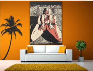 Fetish Art Canvas Print - Bad, bad girl, bondage erotic