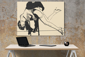 Sexy Art Canvas Print - Bad girls, good spanking, sensual fetish sketch, BDSM slave
