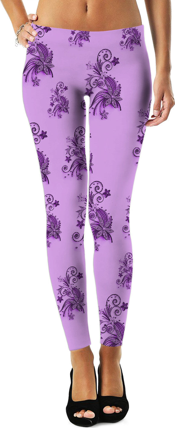 Purple, pink, violet flowers, ornament, asymetric floral design leggings