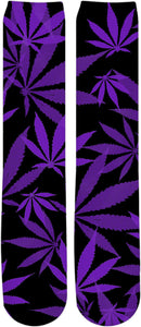 Smoke weed every day! Ganja, cannabis leafs pattern, purple, violet and black Knee High Socks