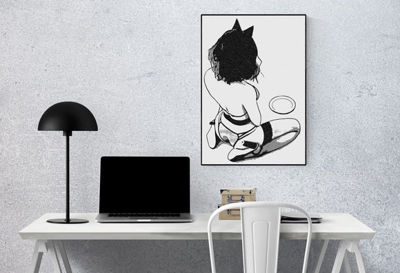 Sexy Art 200gsm poster - Meow my Master, kitten pet girl on her knees