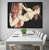 Fetish Erotic Art 200gsm poster - Decorating dungeon, shibari bondage for redhead beauty