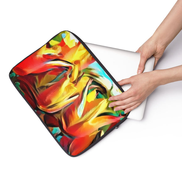 Laptop Sleeve, Carry Bag, 3 sizes - Red abstract tulips