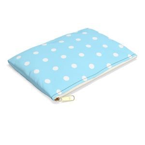 Accessory Carry-All-Pouch w T-bottom - Light blue dotted, polka dots pattern