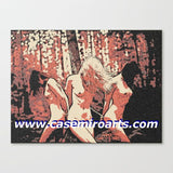 Fetish Erotic Art Canvas Print - Forest Nymphs, abstract adult artwork, bondage in forest