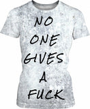 No one gives a fuck, sad but true ;] Worn out look, typography girls fit tee shirt design