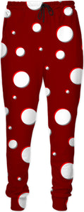 Mushroom pattern unisex Joggers, jogging pants, classic polka dot, asymetric design, dark red, scarlet, white dots