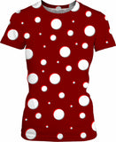 Mushroom pattern girls tee shirt, classic polka dot, asymetric design, dark red, scarlet, white dots