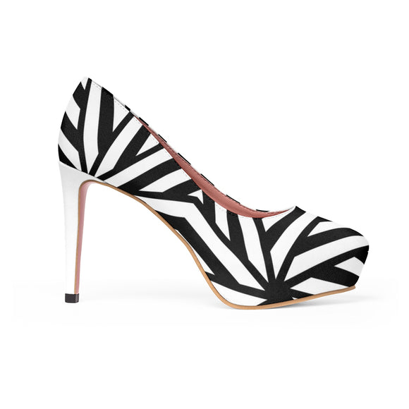 Women's Platform Heels - Black and white geometric lines pattern