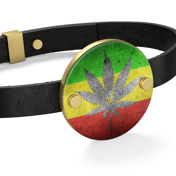 Leather Bracelet with coin circle or heart - 4:20 ganja and flag