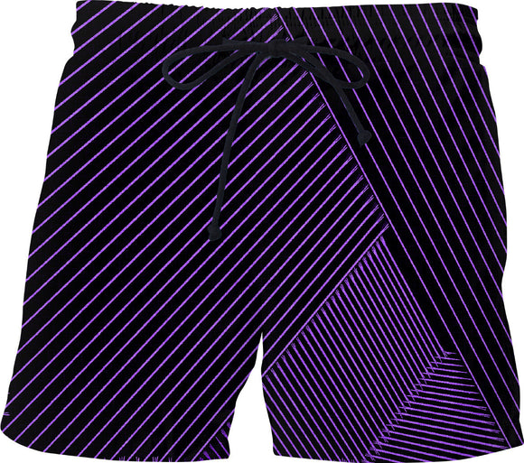 Purple optical illusion, line art at black canvas background swim shorts design ver.2