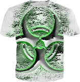 Quicksilver Biohazard symbol tee shirt, toxic waste, bio fallout warning