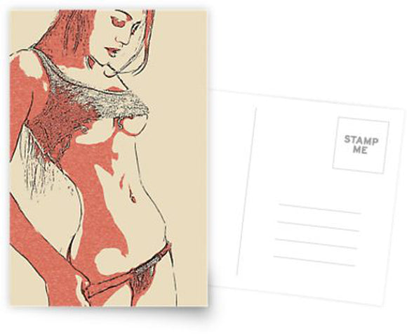 Erotic Postcard, Greeting Card, Photo Card - Red is the color, abstract nude