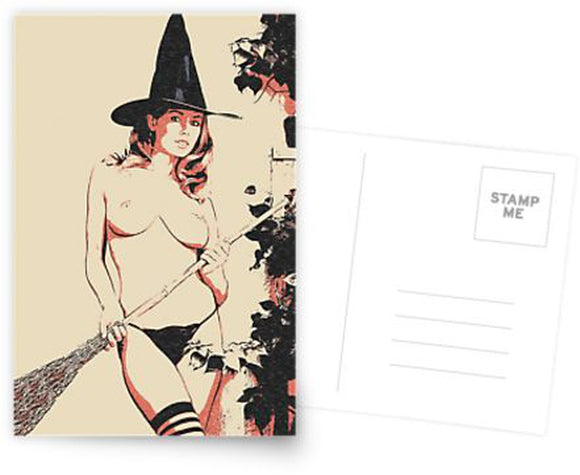 Erotic Postcard, Greeting Card, Photo Card - Naughty Halloween Witch