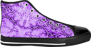 Purple, violet bolts, thunders, cracks on pink sky pattern black high tops design, abstract stripes, lines theme