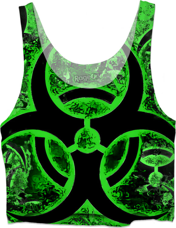 Green and black biohazard sign, bio waste, toxic fallout warning, symbol crop top