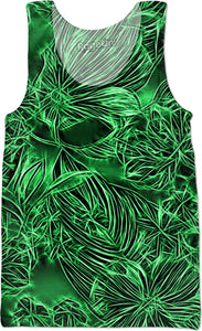 Emerald electrified flowers, gray, silver floral abstract pattern on saturated, dark green color fabric tank top