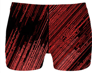 Line Art - The Scratch, red stripes pattern, striped vertical design, black fabric canvas underwear.