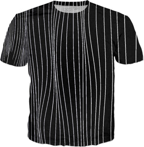 The Strings - asymetric black and white pattern, geometric strpes, striped theme shirt design