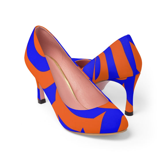 Classic Women's High Heels - Asymetric orange and blue swirls, curves pattern