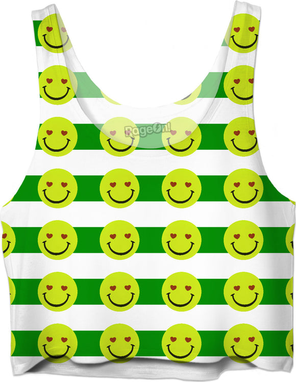Emoji face and green stripes pattern Crop Top Girls Tee Shirt Design