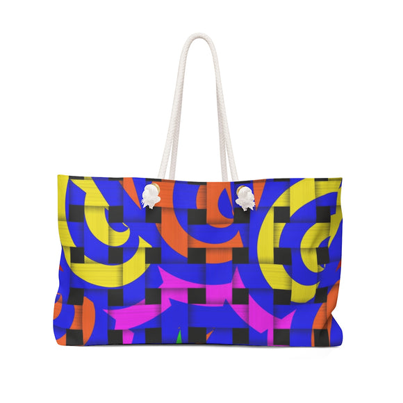 Oversized Weekender Tote Bag - Colorful weaved stripes and curves pattern