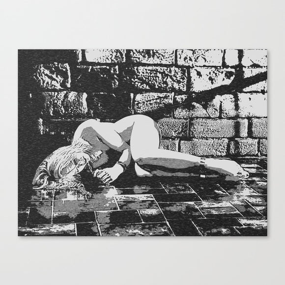 Fetish Erotic Art Canvas Print - Abducted, sexy blonde girl submissive in dungeon, BW