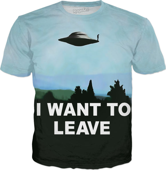 I want to be-leave ufo poster classic 90s series variation aliens flying saucer object sad poster tee shirt
