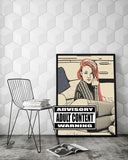 Sexy Erotic Art 200gsm poster - Kinky redhead booty view, dirty posing in lingerie