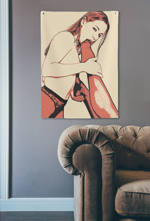 Indoor Wall Tapestries - Pantyhose fun, dirty girls love to play naughty games...