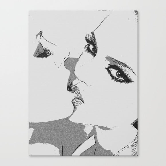 Erotic Art Canvas Print - Girls gone Wild, sexy lesbians kissing BW