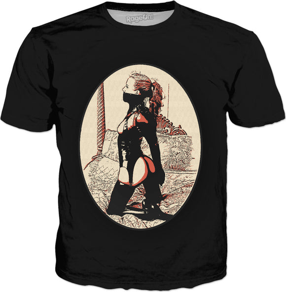 Kinky in Latex v2, cartoon BDSM erotic tee shirt, classic style black t-shirt