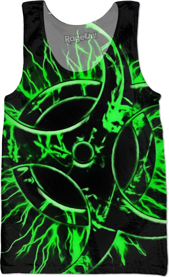 Green and black biohazard sign, bio waste, toxic fallout warning, symbol tank top shirt design