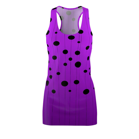 Women's Cut & Sew Racerback Dress - Modern dots at strings, purple