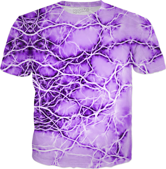 Purple, violet bolts, thunders, cracks on pink sky pattern tee shirt design, abstract stripes, lines theme