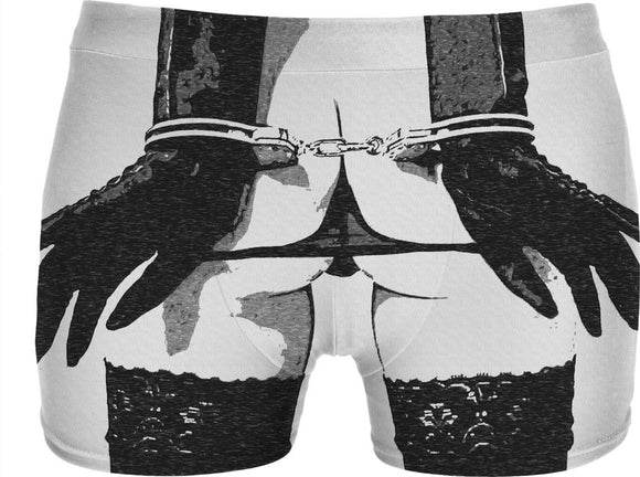 Dirty underwear, sexy cuffed girl, black and white erotic artwork