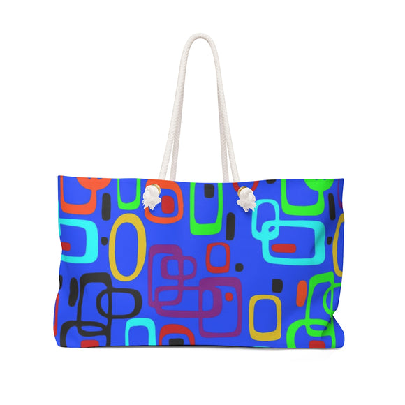 Oversized Weekender Tote Bag - 1950s nostalgy pattern, dark blue