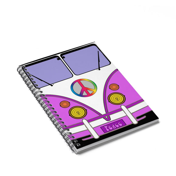 Spiral Notebook - Ruled Line - Hippie love wagon in pink