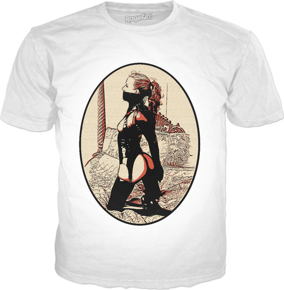 Kinky in Latex v2, cartoon BDSM erotic tee shirt, classic style white t-shirt
