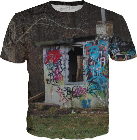Destroyed punks hut in polish forest, grunge style, graffiti, Poland, Polska, in color, shirt