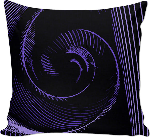 Purple spiral, abstraction, visual, optical illusion, surreal stripes, tunnel pattern, on black fabric canvas throw pillow
