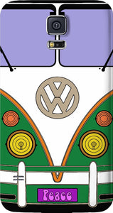 Green love wagon, VW bus, transporter, peace wagon, hippie style Samsung Galaxy case