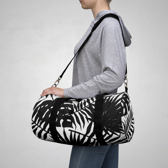 Sporty Duffle Bag - Black and white tropical leafs pattern