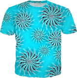 Silver spinning stars on light, azure blue, abstract energetic pattern, tee shirt design