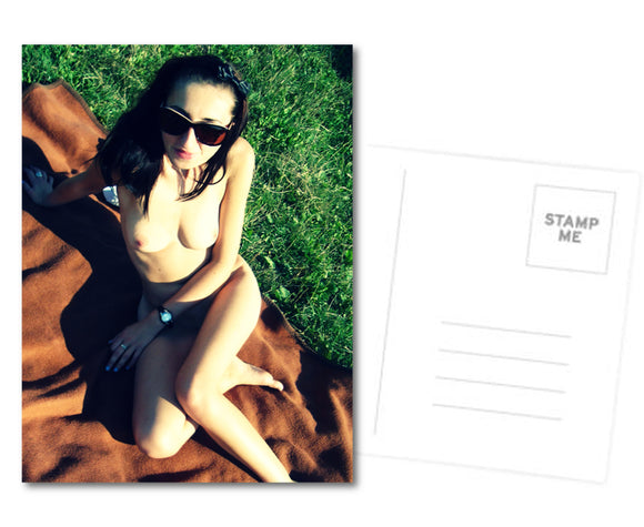 Adult Postcard, Greeting Card, Photo Card - Sexy at the blanket