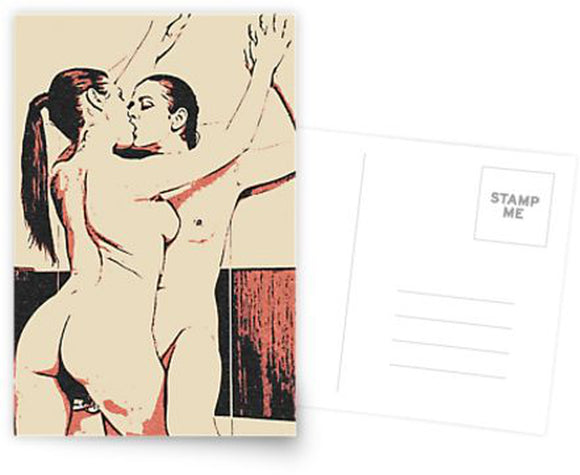 Erotic Postcard, Greeting Card, Photo Card - Girls love to play Naughty