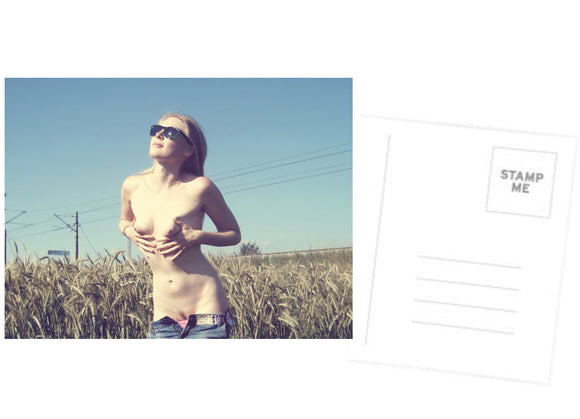 Erotic Postcard, Greeting Card, Photo Card - Sweet outdoors tease